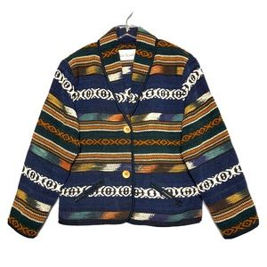 Vintage Southwestern Aztec Boho Tapestry Jacket